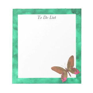 Butterfly on Green Watercolor Notepad