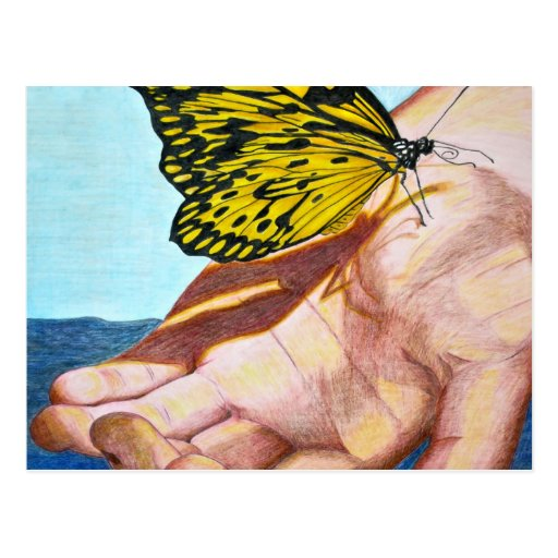 Butterfly on Hand Postcards