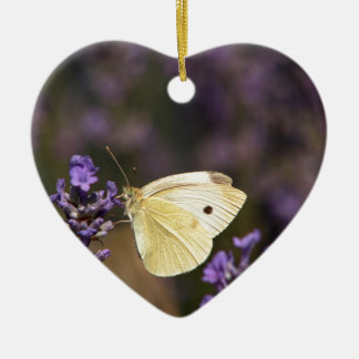 Butterfly on lavender christmas ornament