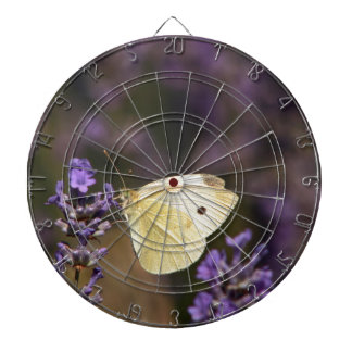 Butterfly on lavender dartboard