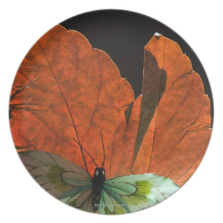 Butterfly on leaf 2 plate