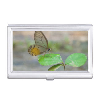 Butterfly On Leaf, Iquitos, Maynas, Peru Business Card Holder