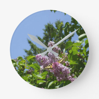 Butterfly on Lilac Bush Round Clock