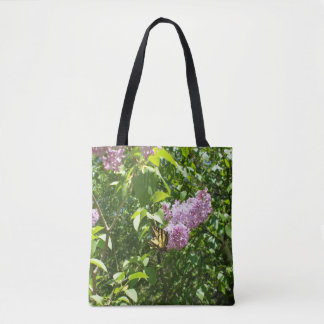 Butterfly on Lilac Flower Tote Bag