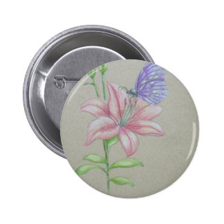 butterfly on lily 6 cm round badge