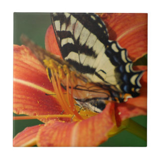 Butterfly on Lily Ceramic Tiles