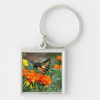 Butterfly on Orange and Yellow Flowers Keychain