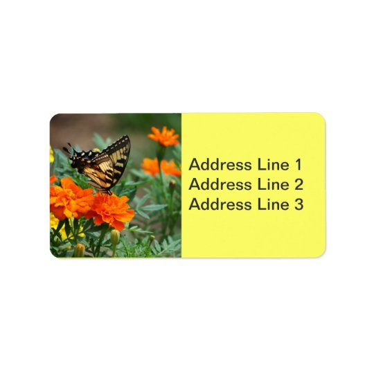 Butterfly on Orange and Yellow Flowers Label