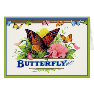 Butterfly on Petunias Card