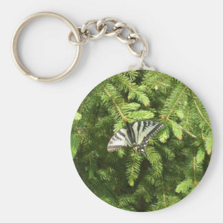 Butterfly on Pine Tree Branch Key Ring