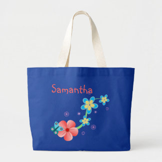 Butterfly on Pink and Blue Flowers Jumbo Tote Bag