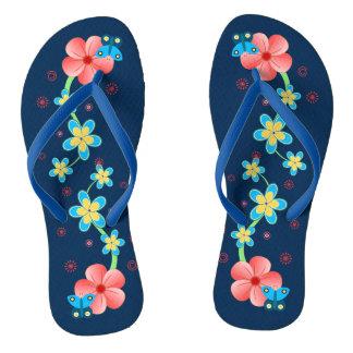 Butterfly on Pink Blue Flowers Womens Flip Flops
