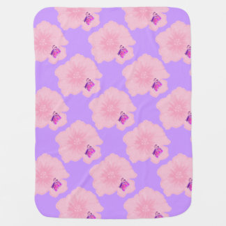 Butterfly on Pink Flower Baby Blanket