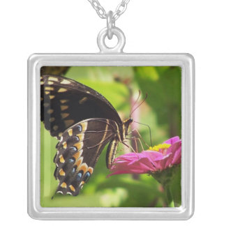 Butterfly on pink flower necklace