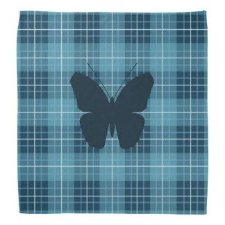 Butterfly on Plaid Blues Bandana