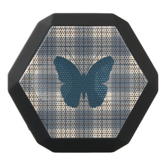 Butterfly on Plaid Blues Brown Cream