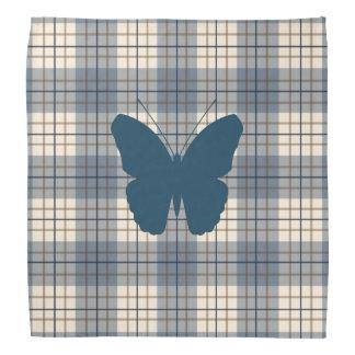 Butterfly on Plaid Blues Brown Cream Bandana