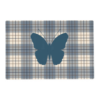 Butterfly on Plaid Blues Brown Cream Laminated Placemat