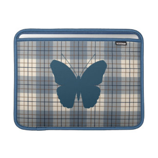 Butterfly on Plaid Blues Brown Cream MacBook Sleeve