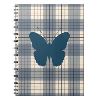 Butterfly on Plaid Blues Brown Cream Notebook