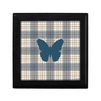 Butterfly on Plaid Blues Brown Cream Small Square Gift Box