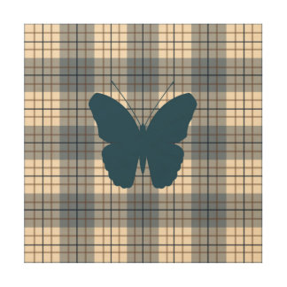 Butterfly on Plaid Blues Brown Cream Wood Wall Decor