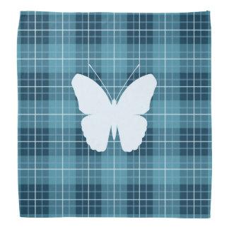 Butterfly on Plaid Blues II Bandana