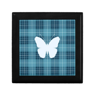 Butterfly on Plaid Blues II Small Square Gift Box