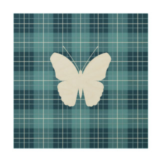 Butterfly on Plaid Blues II Wood Print
