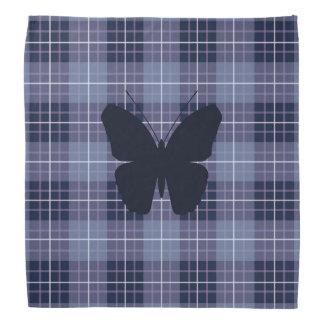 Butterfly on Plaid Blues & Purples Bandana
