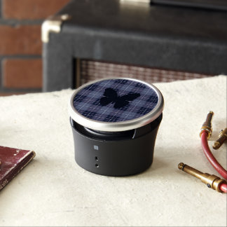 Butterfly on Plaid Blues & Purples Bluetooth Speaker