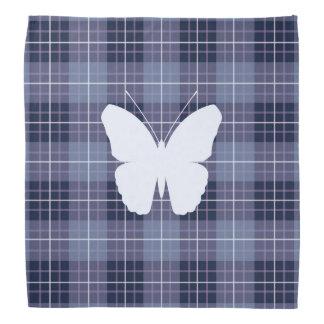 Butterfly on Plaid Blues & Purples II Bandana