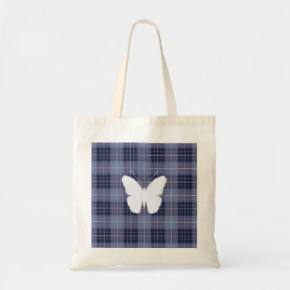 Butterfly on Plaid Blues & Purples II Tote Bag