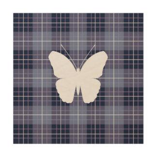 Butterfly on Plaid Blues & Purples II Wood Print