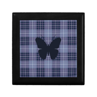 Butterfly on Plaid Blues & Purples Small Square Gift Box