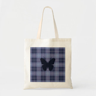 Butterfly on Plaid Blues & Purples Tote Bag