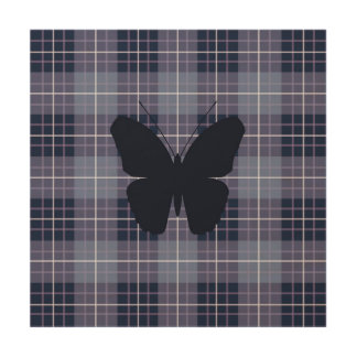 Butterfly on Plaid Blues & Purples Wood Print