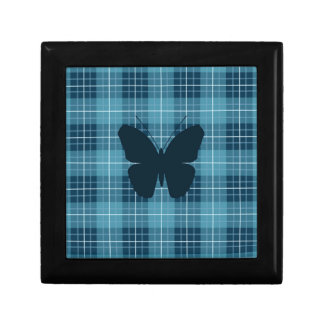 Butterfly on Plaid Blues Small Square Gift Box