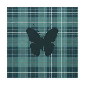 Butterfly on Plaid Blues Wood Wall Decor