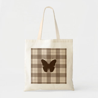 Butterfly on Plaid Browns & Cream