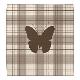 Butterfly on Plaid Browns & Cream Bandana