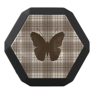 Butterfly on Plaid Browns & Cream Black Bluetooth Speaker