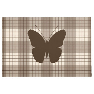 Butterfly on Plaid Browns & Cream Doormat