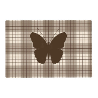 Butterfly on Plaid Browns & Cream Laminated Place Mat