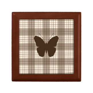 Butterfly on Plaid Browns & Cream Small Square Gift Box