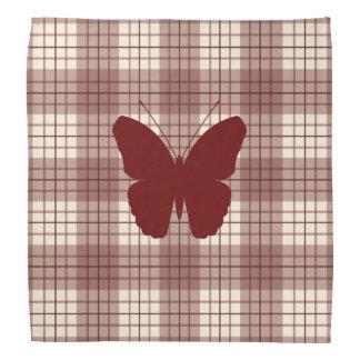 Butterfly on Plaid Reds & Cream Bandana