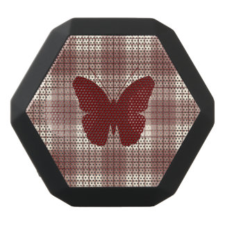 Butterfly on Plaid Reds & Cream Black Bluetooth Speaker