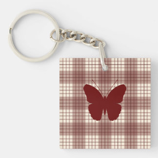 Butterfly on Plaid Reds & Cream Key Ring