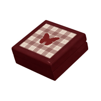Butterfly on Plaid Reds & Cream Small Square Gift Box