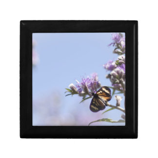 Butterfly on purple blossom branch jewelry box